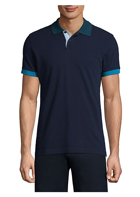 Image of Cotton polo featuring contrasting cuffs design. Spread collar. Short sleeves. Two-button placket. Rib-knit cuffs. Cotton. Machine wash. Imported.