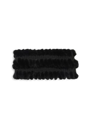 "Image of Cashmere-wool headband with whipstich fur layers. Width, 4"".Circumference, 16"".Wool/cashmere. Fur type: Dyed rabbit. Fur origin: China. Dry clean by fur specialist. Imported."