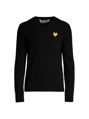 Heart Wool Sweater by Comme Des Garcons Play