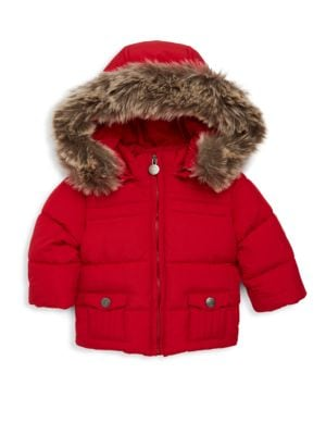Image of Quilted jacket with faux fur trimmed zip-off hood. Removable hood with faux fur trim. Stand collar. Long sleeves. Exposed front zip. Front snap flap pockets. Fur type: Faux. Polyester/polyamide/acrylic. Machine wash. Imported.