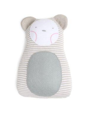 Striped Bear Cotton Pillow Rattle