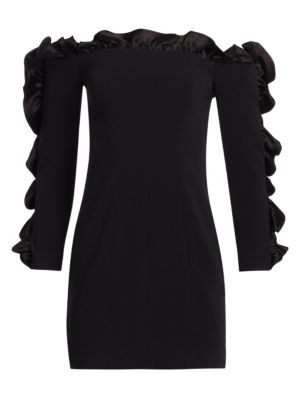 Rosiemarie Off-The-Shoulder Straight Dress W/ Ruffled Frills, Black