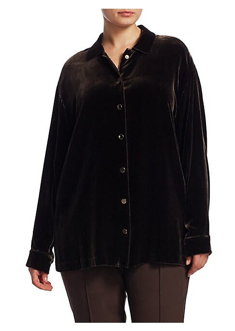 """Image of .Collared shirt featuring snap closure at front. .Point collar. .Dropped shoulders. .Long sleeves. .Buttoned barrel cuffs. .Front snap closure. .Lined. .About 27"""" from shoulder to hem. .Rayon/silk. .Dry clean. .Imported. ."""