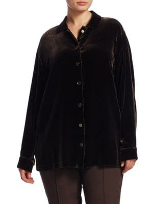 "Image of .Collared shirt featuring snap closure at front. .Point collar. .Dropped shoulders. .Long sleeves. .Buttoned barrel cuffs. .Front snap closure. .Lined. .About 27"" from shoulder to hem. .Rayon/silk. .Dry clean. .Imported. ."