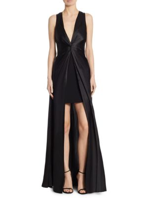 Woman Elio Split-Front Twisted Silk-Satin Gown Black