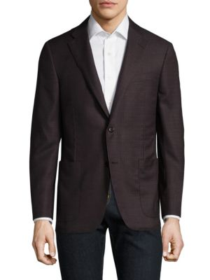 Image of Stylish woven blazer made of pure wool fabric. Notch lapels. Long sleeves. Button front. Chest welt pockets. Front patch pockets. Dual back vents. Wool. Dry clean. Made in USA.