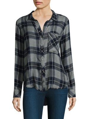 """Image of Button-down shirt with frayed details at hem. Spread collar. Long sleeves. Button front. Front patch pocket. Buttoned cuffs. Shirttail hem. About 27"""" from shoulder to hem. Machine wash. Rayon. Imported. Model shown is 5'10"""" (177cm) wearing US size Small."""