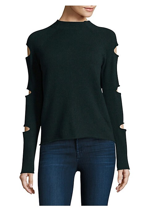 """Image of Chic cashmere top with cutout detail at sleeves. Long raglan sleeves. About 23"""" from shoulder to hem. Cashmere. Dry clean. Imported. Model shown is 5'10"""" (177cm) wearing size Small."""