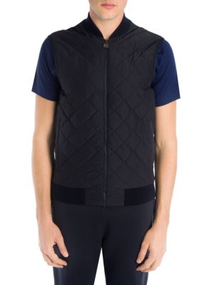 Z ZEGNA Quilted Shell And Techmerino Wool Gilet in Navy
