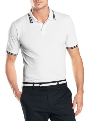 """Image of Formal polo with contrasting detail on neck and cuffs. Polo collar. Short sleeves. Two-button placket. About 30"""" from shoulder to hem. Polyester/elastane pique. Machine wash. Imported."""
