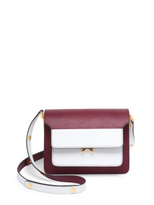 'Trunk' Colourblock Saffiano Leather Shoulder Bag in White