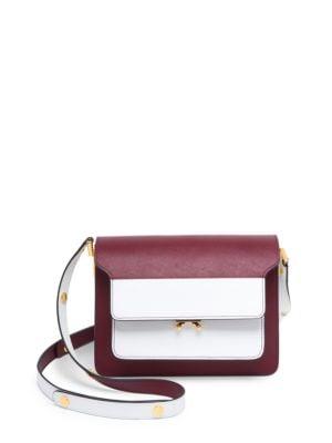 'Trunk' Colourblock Saffiano Leather Shoulder Bag in White