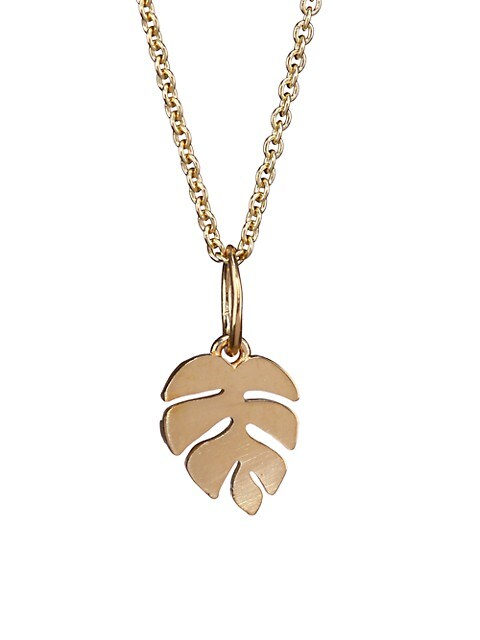 14K Yellow Gold Leaf Pendant Necklace