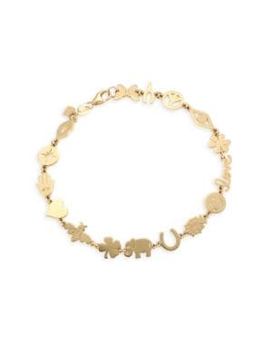 14 K Yellow Gold Assorted Charm Bracelet by Sydney Evan