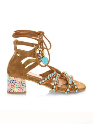 ELINA LINARDAKI Chill In Panama Suede Gladiator Sandals in Multi