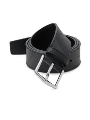 BURBERRY Men'S Joe Tonal London Check Belt, Charcoal/ Black