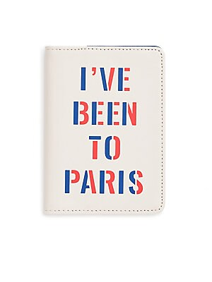 "Image of Passport holder featuring two-tone graphic detail Three inside credit card slots 4""W x 5.75""H Leatherette Imported. Gifts - Books And Music > Saks Fifth Avenue. ban. do."