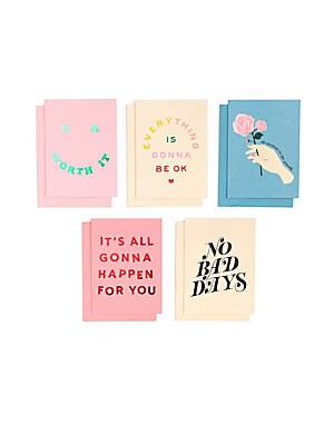"""Image of Assorted greeting cards featuring graphic design. Set of 5 designs, 2 of each Half-moon envelopes with matching liners 5.5""""W x 4""""H Cardstock/wood-free paper Imported. Gifts - Books And Music > Saks Fifth Avenue. ban. do."""