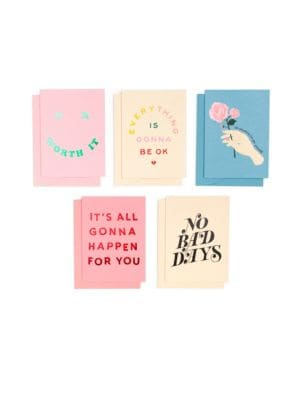 "Image of Assorted greeting cards featuring graphic design. Set of 5 designs, 2 of each. Half-moon envelopes with matching liners.5.5""W x 4""H.Cardstock/wood-free paper. Imported."