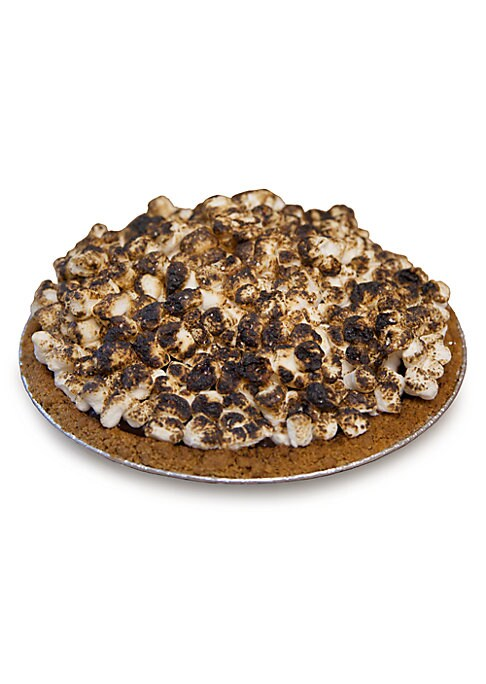 """Image of 19"""" smores pie with marshmallow, Graham crumb and butter. Packaged in an insulated Kerber's Pie Box.2.88 lbs. Cooked, simply thaw and serve. Shelf life: 7 days refrigerated/3 months frozen. Serves 4-6.Made in USA."""