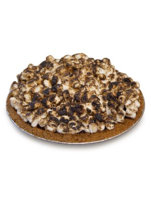 "Image of 19"" smores pie with marshmallow, Graham crumb and butter. Packaged in an insulated Kerber's Pie Box.2.88 lbs. Cooked, simply thaw and serve. Shelf life: 7 days refrigerated/3 months frozen. Serves 4-6.Made in USA."
