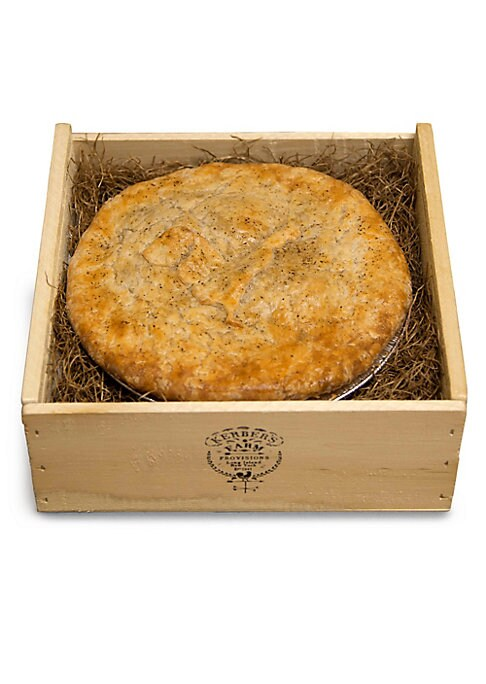 """Image of 19"""" chicken pot pie. Packaged in an insulated Kerber's Pie Box.13.28 lbs. Frozen, raw crust, cooked filling. Shelf life: 4 days refrigerated/3 months frozen. Serves 4-6.Made in USA."""