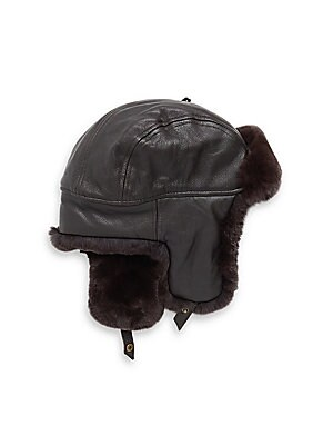 Image of Aviator hat detailed with sheared rabbit fur Snap button strap Leather Lined Fur type: sheared dyed rabbit Fur origin: China Dry clean by fur specialist Imported. Men Accessories - Cold Weather Accessories. Crown Cap. Color: Black. Size: Large.