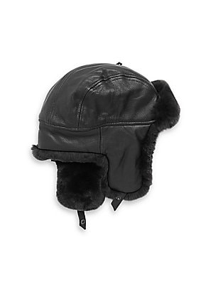 Image of Aviator hat detailed with sheared rabbit fur Snap button strap Leather Lined Fur type: sheared dyed rabbit Fur origin: China Dry clean by fur specialist Imported. Men Accessories - Fashion Accessories > Saks Fifth Avenue. Crown Cap. Color: Black. Size: La