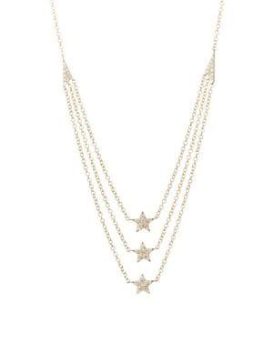 aeb5734ac99e2 Triple layer 14K Yellow Gold & Diamond Star Necklace