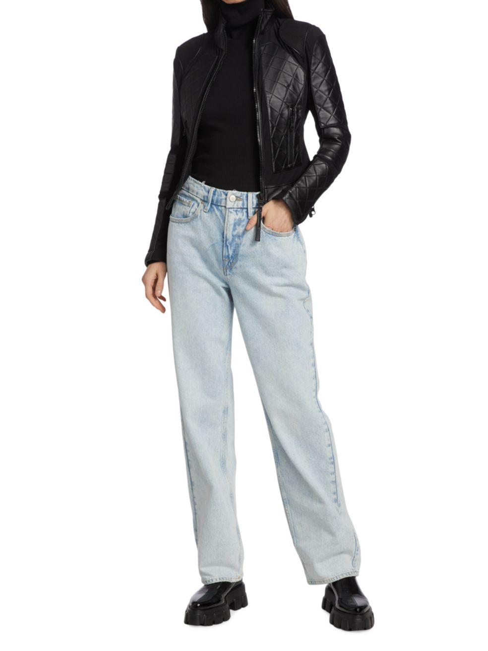 Blanc Noir Leather Moto Jacket | SaksFifthAvenue