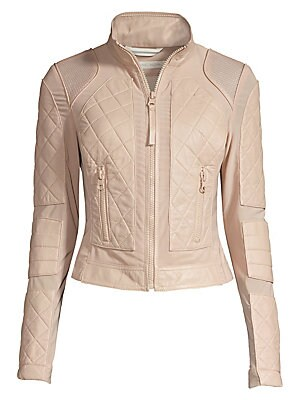 """Image of Jacket with lace-up details and quilted leather Stand collar Long sleeves with side zips Exposed front zip Waist zip pockets Back lace-up details on side Back exposed seams on layered hem Lined About 17"""" from shoulder to hem Leather Dry clean Imported Mod"""