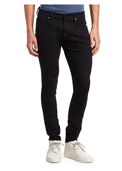 """Image of Cotton-blend jeans featuring super slim-fit style. Belt loops. Zip fly with button closure. Five-pocket style. Super slim-fit. Rise, about 11"""".Inseam, about 33"""".Leg opening, about 13"""".Machine wash. Cotton/elastane. Imported."""