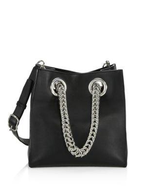 Genesis Box Chain Square Leather Shopper - Black