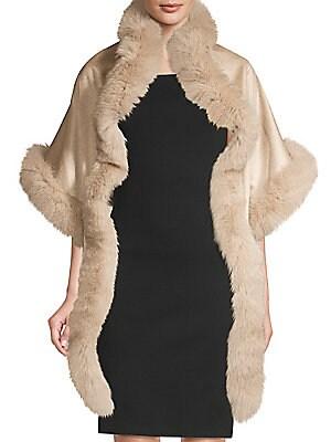Cashmere Fur Fox Sofia Cape Trimmed 6ZdUqxHBUw