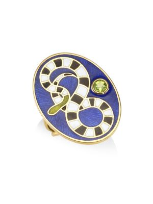 HOLLY DYMENT Peridot 18K Yellow Gold Snake Ring in Multi