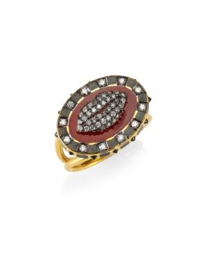 HOLLY DYMENT Diamonds & 18K Yellow Gold Glam Lip Ring in Multi