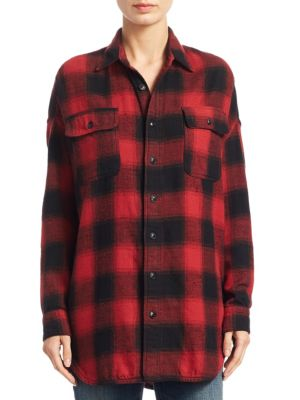 Oversized Plaid Cotton Button-Down Shirt by R13
