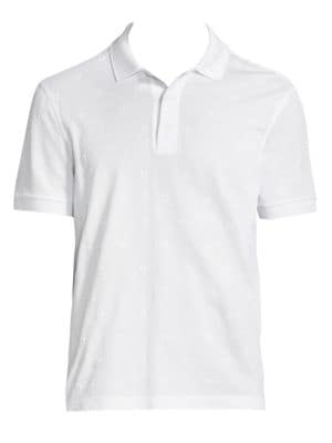 "Image of Soft cotton polo with allover logo embroidery. Polo collar. Short sleeves. Rib-knit armbands. Side slit hem. Three-button placket. About 27"" from shoulder to hem. Cotton. Machine wash. Made in Italy."