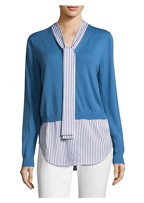 """Image of Luxe wool-blend knit cardigan with striped shirt underlay.V-neck. Long sleeves. Button-front. About 30"""" from shoulder to hem. Wool/silk/spandex. Dry clean. Imported. Model shown is 5'10"""" (177cm) wearing size Small."""
