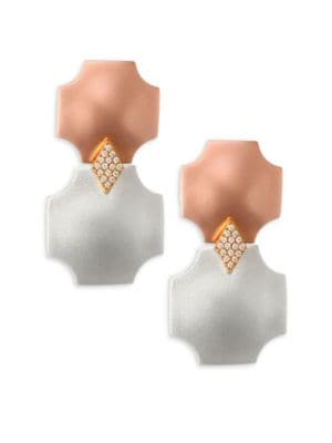 STEPHANIE KANTIS Overture Double Drop Design Earrings in Rose Gold