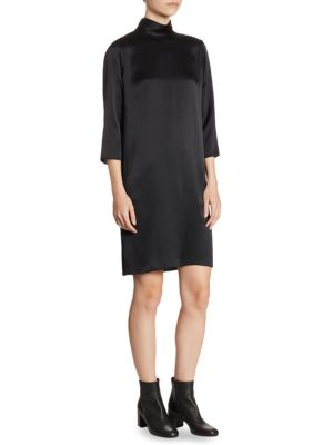 Mockneck Silk Dress