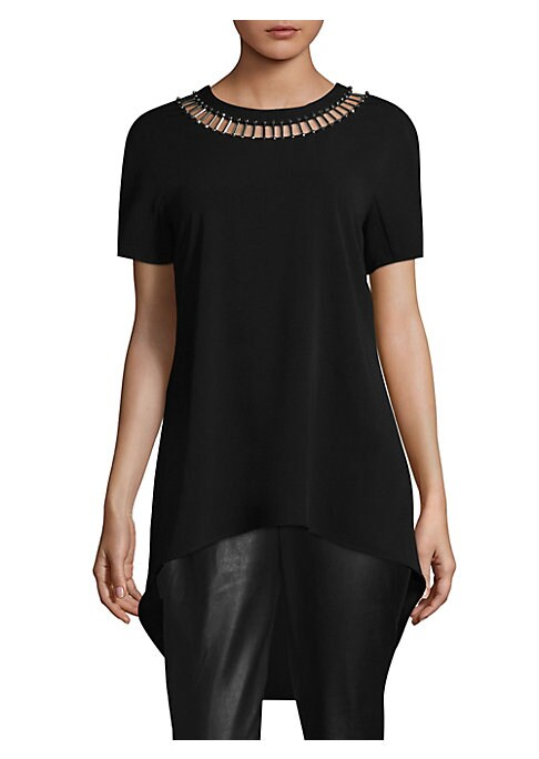 """Image of chic short sleeves top featuring hand beaded at neck. Roundneck. Short sleeves. Hook-and-eye closure at back. Hi-lo hem. Pullover style. About 32"""" from shoulder to hem. Polyester/spandex. Dry clean. Imported. Model shown is 5'10"""" (177cm) wearing size Smal"""
