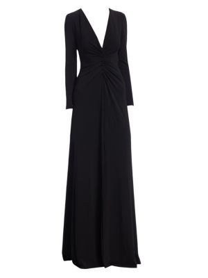 HALSTON HERITAGE Ruched V-Neck Long-Sleeve Gown in Black