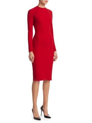 "Image of Classic wool-blend dress with dart details on back. Jewelneck. Long sleeves. Concealed back zip. About 47"" from shoulder to hem. Virgin wool/elastane. Dry clean. Made in USA. Model shown is 5'10"" (177cm) wearing US size 4."