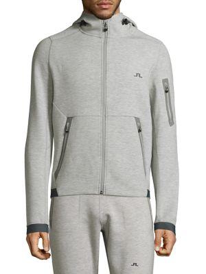 J.LINDEBERG Active Athletic Hooded Jacket in Navy