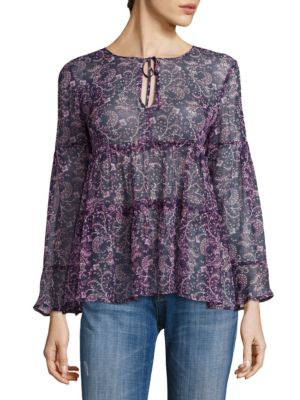 Shawni Floral Silk Long Sleeve Blouse by Joie