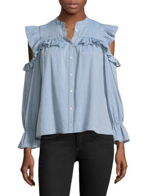 Akari Cold Shoulder Ruffle Shirt by Joie