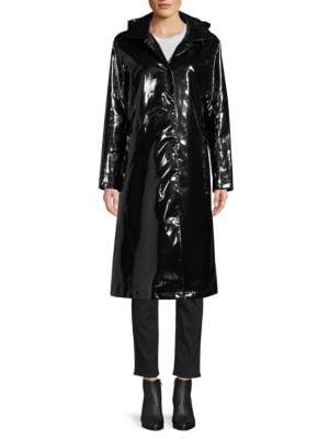 Hooded Snap-Front Long Rain Slicker Coat, Black