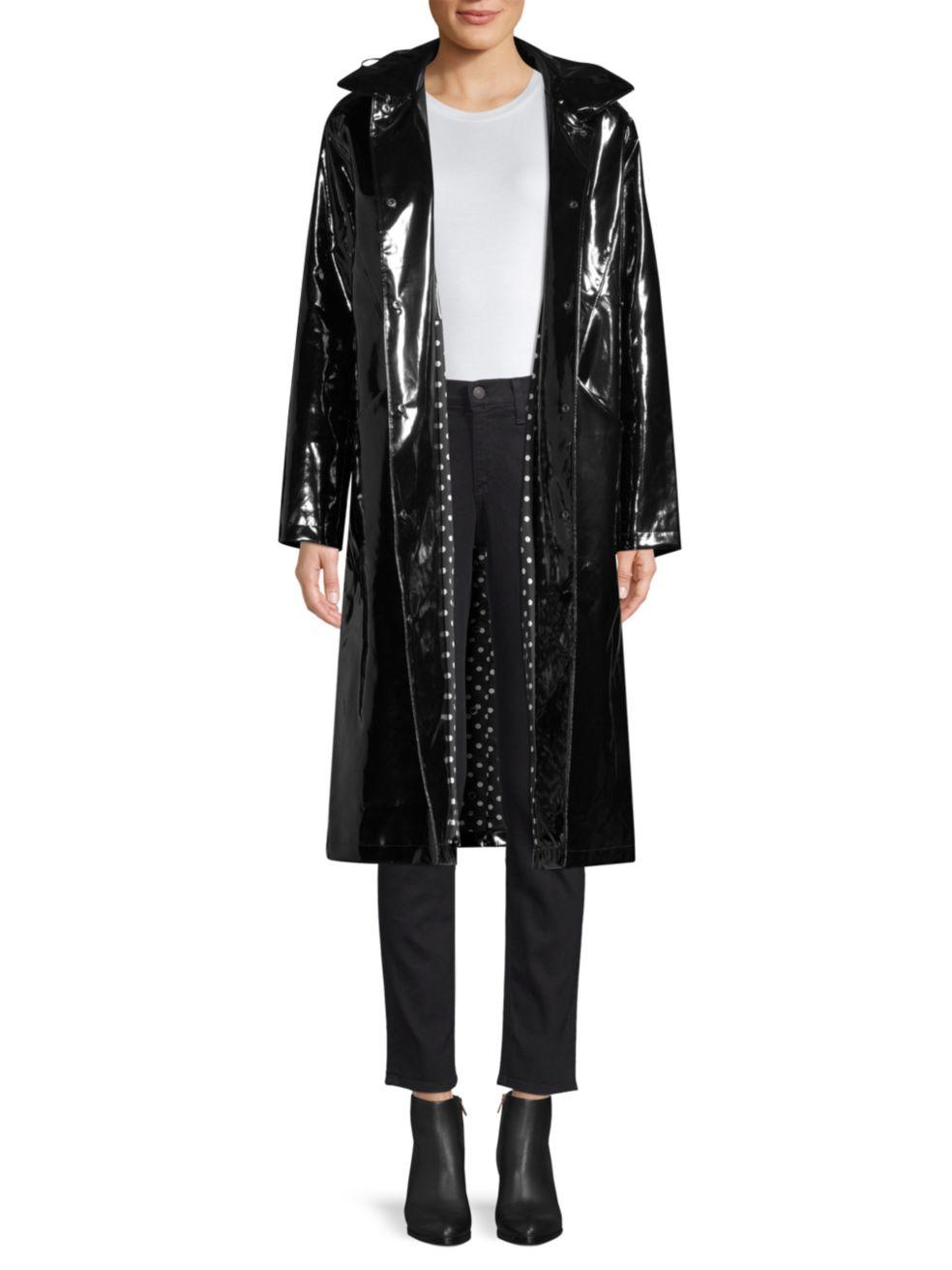 Jane Post High Shine Slicker Long Coat | SaksFifthAvenue