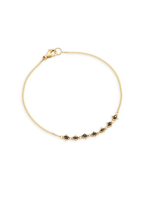 """Image of Deluxe 18k gold chain bracelet with black diamonds. Black diamonds, 0.75 tcw.18K yellow gold. Bracelet, 7"""" long. Hook closure. Made in USA."""